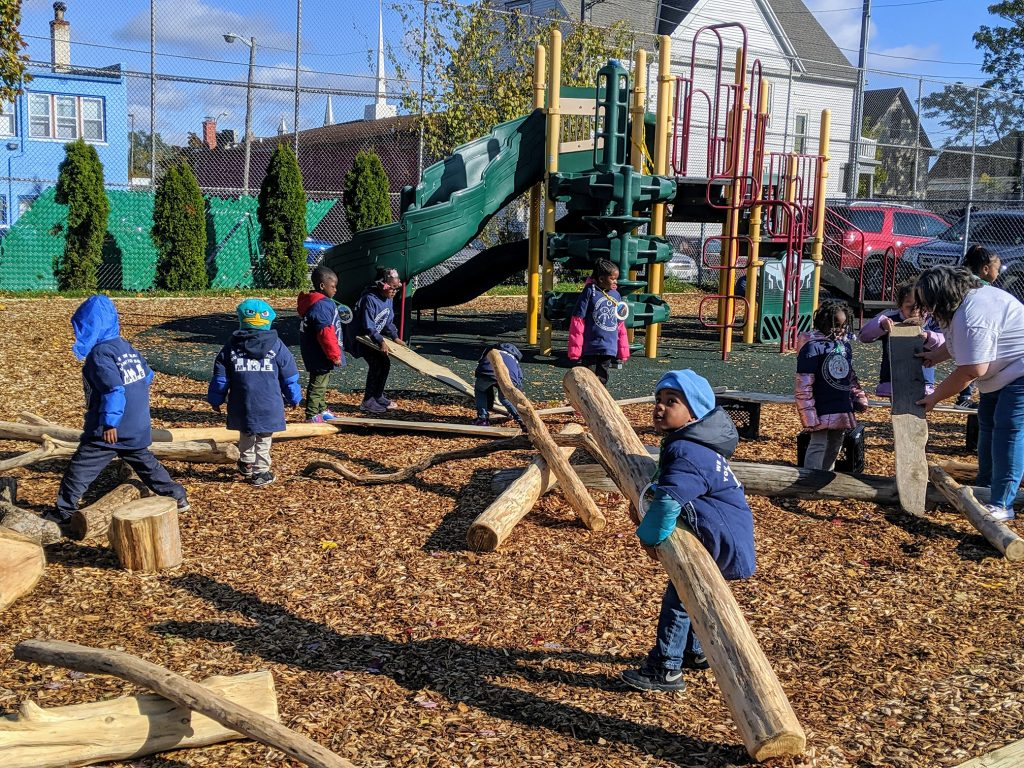 Starms Early Childhood Center (SECC), in Milwaukee, Wisconsin, completed a multiyear holistic schoolyard redevelopment project. The new schoolyard allows SECC to teach environmental themes, conservation, and cross-curricular lessons that emphasize careers. Through the project, SECC removed 12,200 square feet of asphalt and installed green infrastructure features that manage 42,430 gallons of stormwater per rain event.
